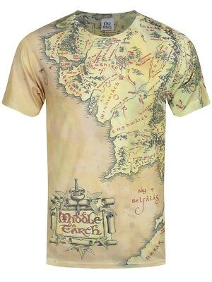 Lord of the Rings T-Shirt Middle Earth Map Sublimation Homme Blanc
