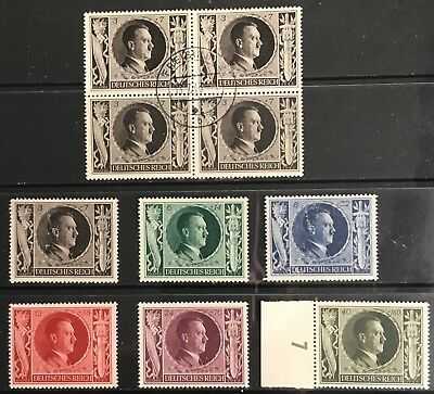 Germany Third Reich 1943 54th Birthday of Hitler MNH/MLH/Used. 3pf & 8pf scuffed