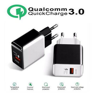 Universal QC 3.0 USB Fast Wall Charger 5V 2.5A Home Travel AC Adapter EU Plug 3C