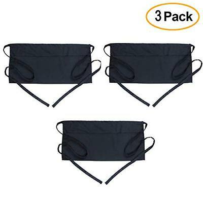 Server Aprons with 3 Pockets 3 Pack - Waist Apron for Women Men Waitress Waiter