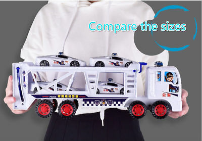 Large Double Trailer Mini Plastic Model Police Car Transport Big Truck Toys