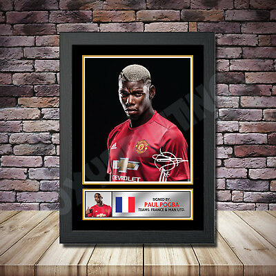 Paul Pogba Signed Football Print A3/A4 Footballer Autographed Gift Present
