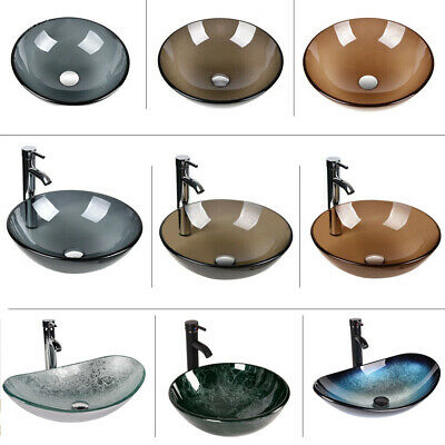 Bathroom Tempered Glass Vessel Single Sink Bath Basin Bowl Pop UP Drain Combo US
