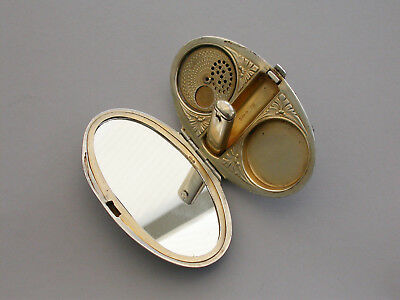 Early 20th Century Silver & Guilloche Enamel Minaudiere Compact G Stockwell 1922