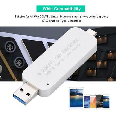 USB 3.0 Type-A+Type-C to NGFF M2 2230/2242 SSD External Enclosure Case Box 5GB/S