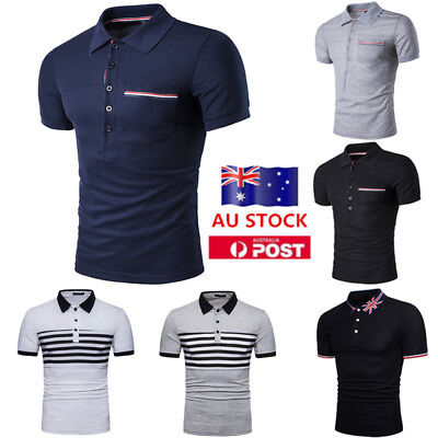 AU Mens Fit Slim Polo Short Sleeve T Shirt Summer Casual Muscle Golf Tee Tops