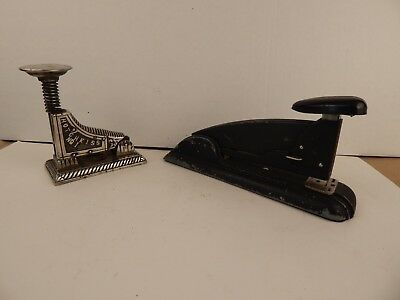 lot of 2 antique DESK STAPLERS  Hotchkiss #1 1896 and Art Deco SPEED PRODUCTS