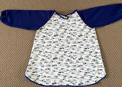 GORGEOUS Handmade Navy Helicopter Art Smock  AGE 4-7 Perfect For School Or Home