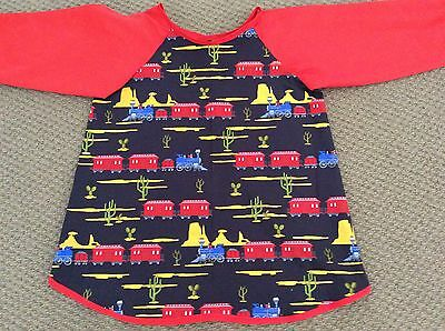 Retro Trains Navy Art Smock Handmade & Gorgeous AGE 4-7 Perfect For School/Home