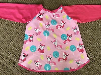 GORGEOUSLY Cute Pink Fox Art Smock  AGE 4-7 Perfect For School Or Home