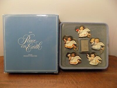 Vintage Avon Peace on Earth Angels Ornaments Collection Set of 5 NEW IN BOX