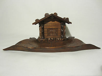 Antique Inkwell Office Chalet Wood Carved Art Popular Forest Black