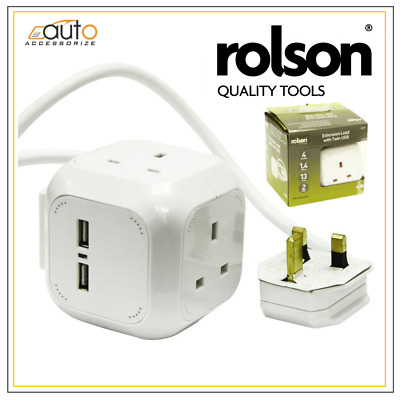 Extension Lead cube dice with Twin Usb 4 sockets 1.4 metre 13 amp wall mount