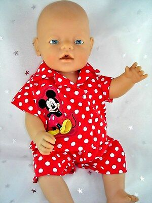 "Dolls clothes  for 17"" Baby Born doll~ MICKEY MOUSE RED/WHITE SPOT PYJAMAS~SOCKS"