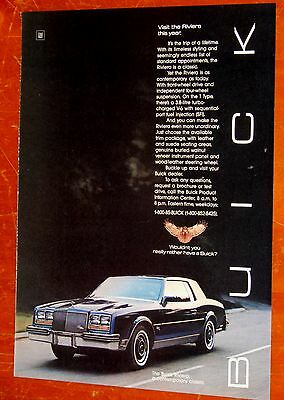 Navy Blue 1985 Buick Riviera T Type Beautiful Vintage Ad - American 80S Retro