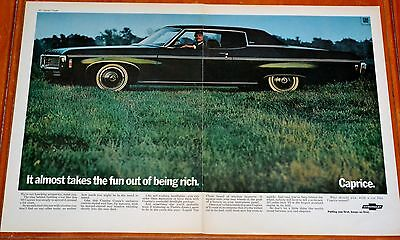 Dark Green 1969 Chevy Caprice Coupe Large Ad - Vintage Chevrolet 60S Old School