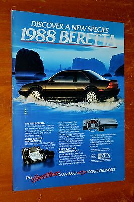 Beautiful 1988 Chevy Beretta Heartbeat Of American Ad  / Retro 80S Vintage