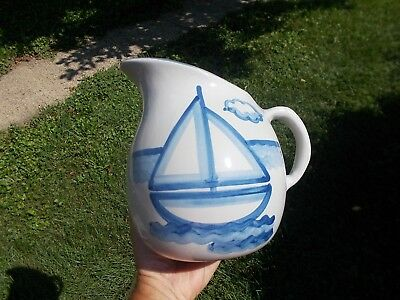 Mary M.A. Hadley Pottery Serving Milk Pitcher Sailboat Nautical Theme 8""