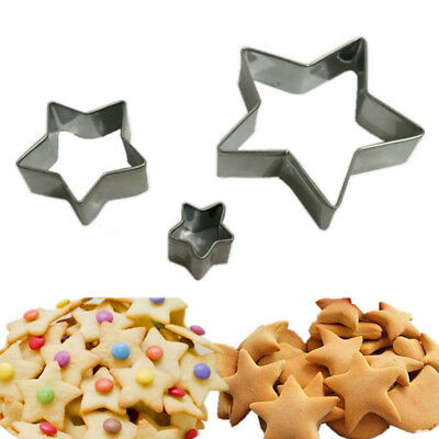 3PCS Stars Shape Stainless Steel Biscuit Cookie Cake Pastry Fondant Mold Cutter