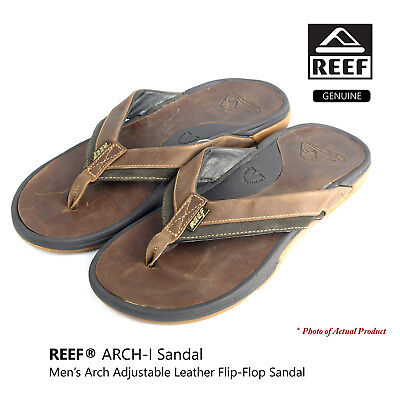 REEF Men's Adjustable Arch-I Leather Sandals Thongs Flip-Flop Style# 2221 Brown
