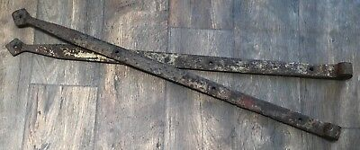 """Early 34"""" Heavy Handwrought Iron Barn Strap Hinges """"diamond Ends"""" For Restoring"""