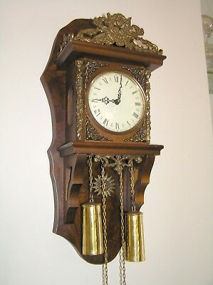 Antique weight driven wall clock. Serviced and works ! Beautiful