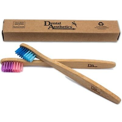 Childrens Bamboo Toothbrush ~ Kids Soft Eco Biodegradable Plastic-Free 2 or 8