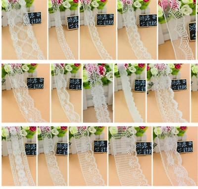 32 style white Fabric Embroidered Lace Bilateral Applique Trim Ribbon Sewing
