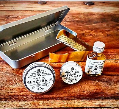 Organic Beard Oil, Beard Balm, Wax, Comb & Tin Grooming Kit by Revered Beard.