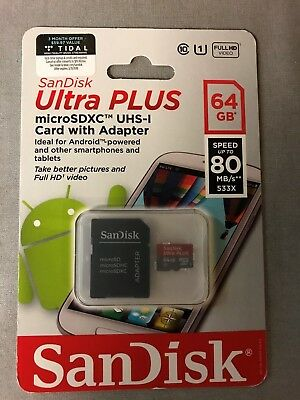 NEW-SANDISK ULTRA PLUS 64GB 80MB/s microSDXC UHS-I Memory Card w/Adapter