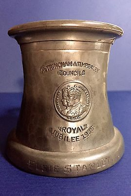 1935 Silver Jubilee King George V & Queen Mary English Pewter Mug Spelman Mark