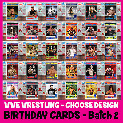 Personalised Kids Or Adults Custom Wrestling Birthday Cards Any