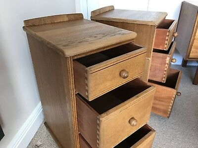 Pair of Retro Vintage Antique Oak bedside cabinets drawers