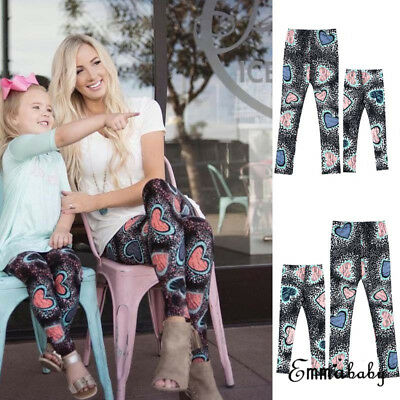 NEW Mother and Daughter Printing Pants Casual Tight Leggings Family Clothes