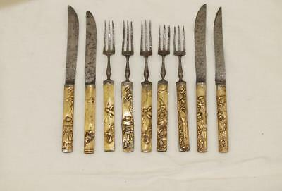 Set of nine cutlery in gold and silver of Meiji period