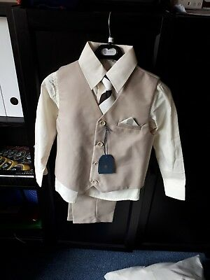 Boys beige/sand 3 Piece Suit Age 4-5