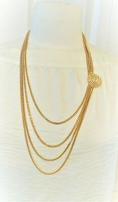 Michele Lynn Four Strand Chain Necklace Shell Enhancer 32 in.