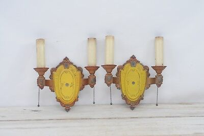 Pair of Antique Art Nouveau Deco Wall Sconces Riddle Co. Original Paint No. 703