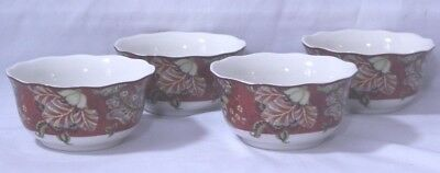 222 Fifth Gabrielle Red Floral Porcelain Soup/Cereal Bowls Set of Four New