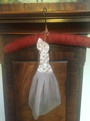 Vintage coat hanger padded cover: hanging nylon pocket for lavender 1950s