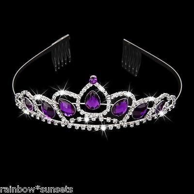 Bridal Wedding Flower Girl Prom Pageant Tiara Rhinestone Purple Crystal
