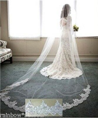 Wedding Bridal Cathedral White Veil Sequins On Lace Edge 9 Feet Long