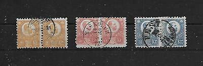 Hungary 1870s - 2Kr, 5Kr & 10Kr Franz Josef (PAIRS) Engraved Town Cancels VF