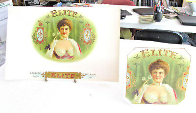 2 ELITE cigar box labels, A.C. Baker FORT WAYNE INDIANA Lid & Box End Girl Litho