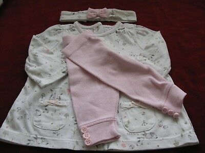 Baby Dresse Leggings And Headband   0-3 Months