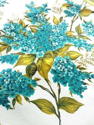 "Vintage TABLECLOTH FLORAL New ""Old Stock"" 57x50"" Vlisco Turquoise Cotton Linen"
