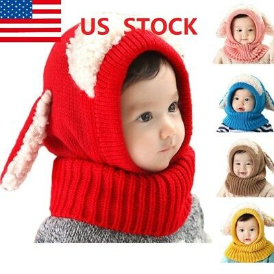 Girls Boys Winter Beanie Warm Hat Hooded Scarf Earflap Knitted Baby Toddler Cap