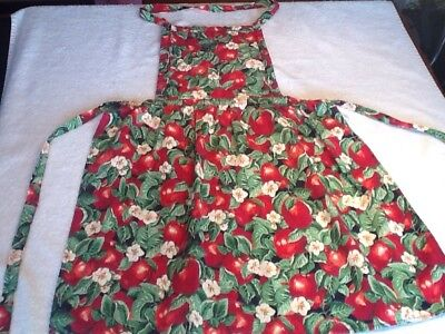 Vintage Red Apple Bib Apron with Apple blossoms and quilted bib. USA