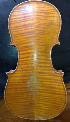 OLD 1/2 ANTIQUE  VIOLIN  for RESTORATIONS .... FLAMED WOOD , GEIGE,  小提琴