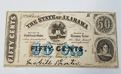 1863 Confederate State of Alabama Fractional Currency 50 Cent Civil War